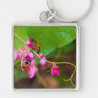 Bees On Coral Vine Flowers Keychain