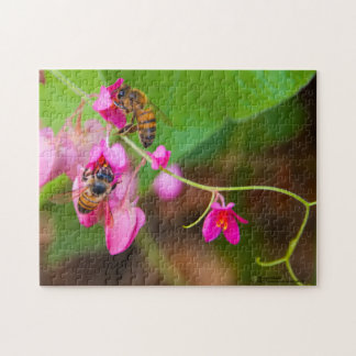 Bees On Coral Vine Flowers Photograph Puzzles