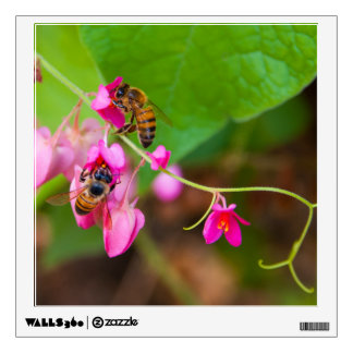 Bees On Coral Vine Flowers Photograph Wall Decal