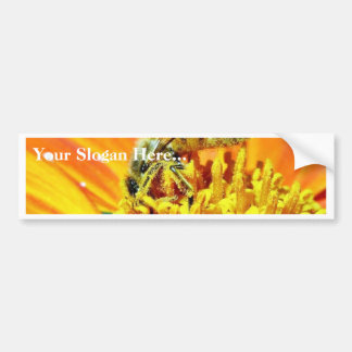 Bees On Flowers Collecting Pollen Car Bumper Sticker