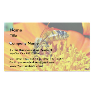 Bees On Flowers Collecting Pollen Business Card Template