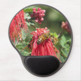 Bees on Pink Flower Gel Mouse Pad