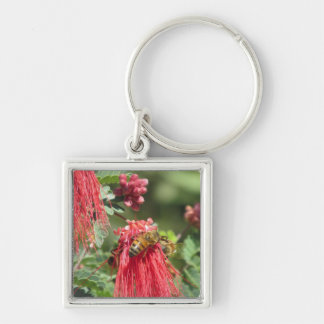 Bees on Pink Flower Key Chain