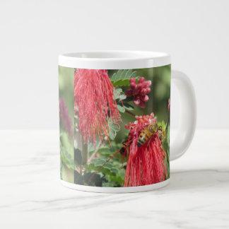 Bees on Pink Flower Large Coffee Mug