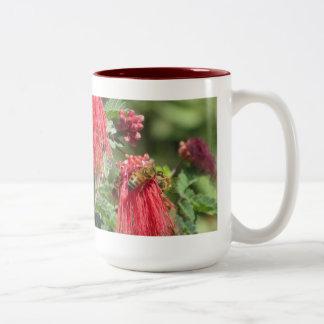 Bees on Pink Flower Mug