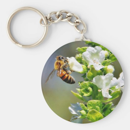 Bees Pollenating Basil Key Chains