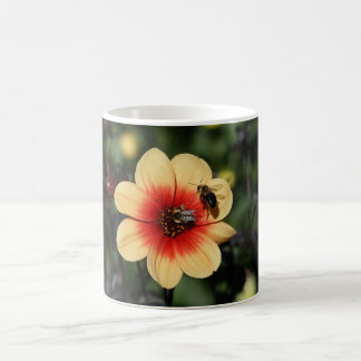 Bees Pollinating Dahlia Coffee Mug