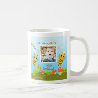 Bees wishing happy birthday with photo coffee mug