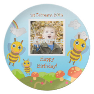 Bees wishing happy birthday with photo plate