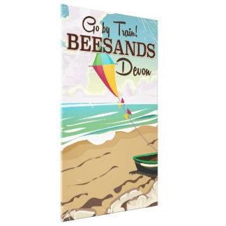 Beesands Beach Devon vintage travel poster Canvas Print