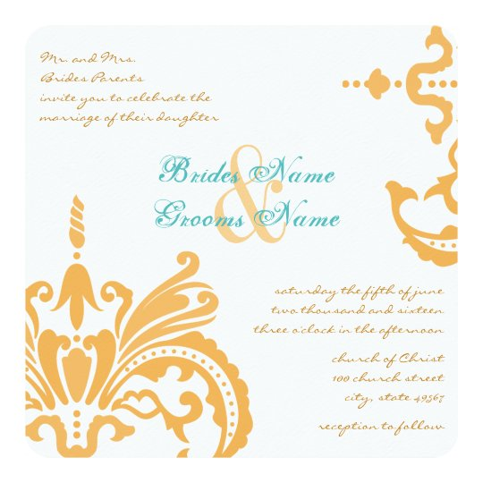 beeswax and blue curacao floral damask invitations zazzle com