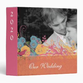 Beeswax Aqua Pink Vintage Bird Wild Flower Wedding 3 Ring Binder
