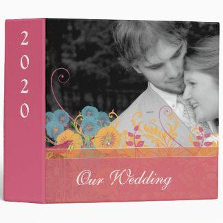 Beeswax Aqua Pink Vintage Bird Wild Flower Wedding Binder
