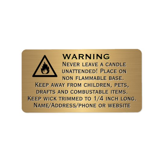Beeswax Candle Gold Warning Label