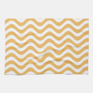 Beeswax Color And White Waves Pattern Hand Towel