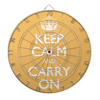 Beeswax Color Keep Calm And Carry On White Text Dart Board
