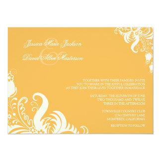 "Beeswax Floral Accent Wedding Invitation 5.5"" X 7.5"" Invitation Card"