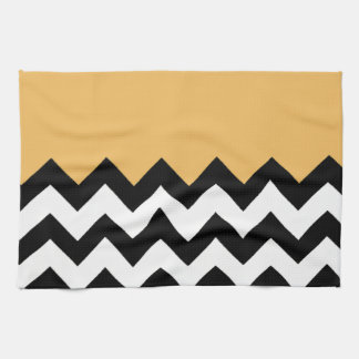 Beeswax-On-Black-&-White-Zigzag-Pattern Hand Towel