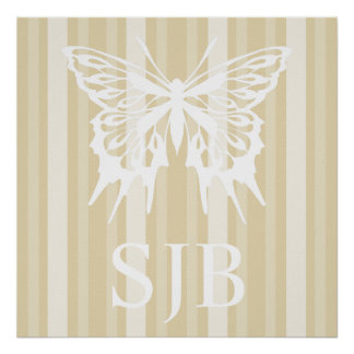 Beeswax Victorian Lady Stripe with Butterfly Posters