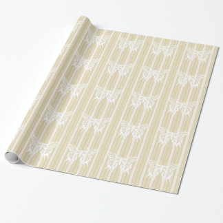 Beeswax Victorian Stripe with Butterfly Wrapping Paper