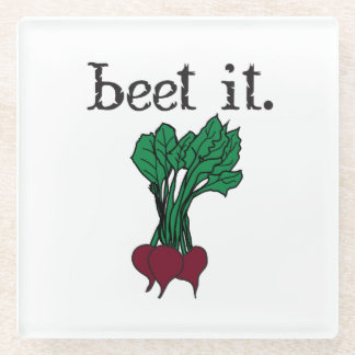 beet it. (beets) glass coaster