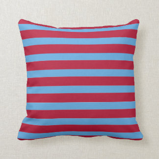 Beet Red And Hydrangea Blue Stripes Throw Pillow
