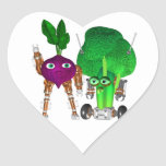 BeetBot and BroccoliBot Heart Stickers