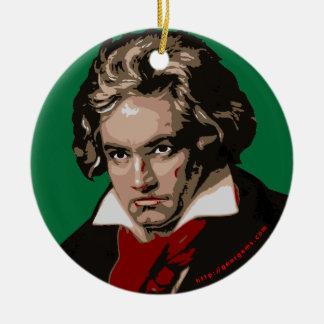 Beethoven Adorno Navideño Redondo De Cerámica