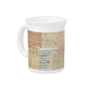 Beethoven and Mozart Manuscript Medley Beverage Pitcher