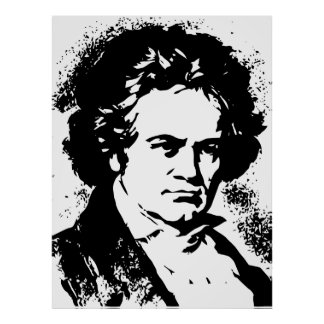 Beethoven Black and white vector art Poster