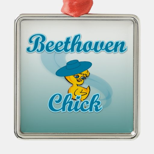 Beethoven Chick #3 Square Metal Christmas Ornament