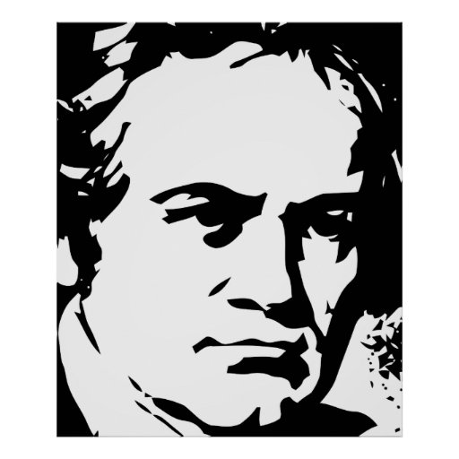 Beethoven detail Black and white vector art Print