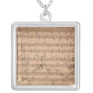 Beethoven Hammerklavier Sonata Square Pendant Necklace