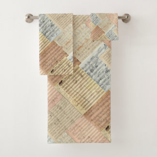 Beethoven Manuscript Medley Patchwork Effect Bath Towel Set