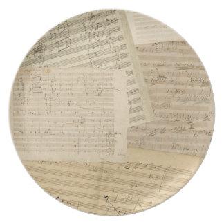 Beethoven Manuscript Second Medley Melamine Plate