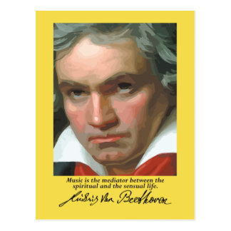 Beethoven 'Music is the mediator' quote postcard