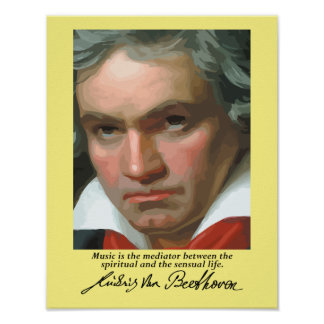 Beethoven 'Music is the mediator' quote poster