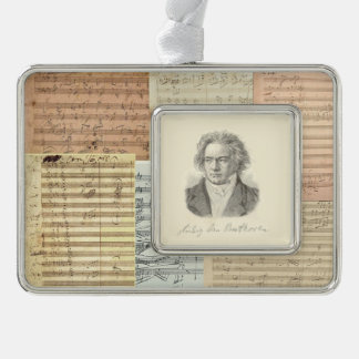 Beethoven Music Manuscript Medley with Portrait Silver Plated Framed Ornament