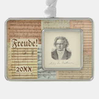 Beethoven Music Manuscript Portrait Freude Custom Christmas Ornament