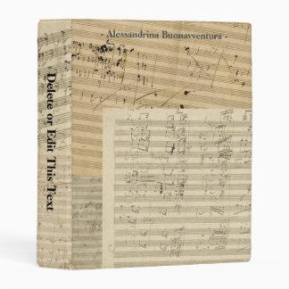 Beethoven Music Manuscripts Custom Text Mini Binder