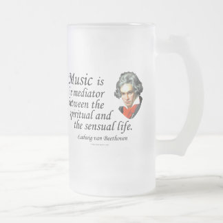Beethoven on Music 16 Oz Frosted Glass Beer Mug