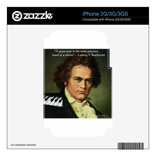 Beethoven & Poets/Gems Quote Gifts Tees & Cards Skin For The iPhone 2G