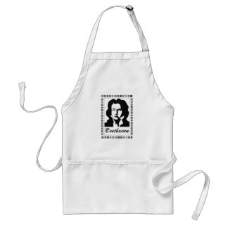 beethoven portrait with piano key frame adult apron