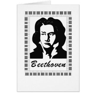 beethoven portrait with piano key frame greeting card