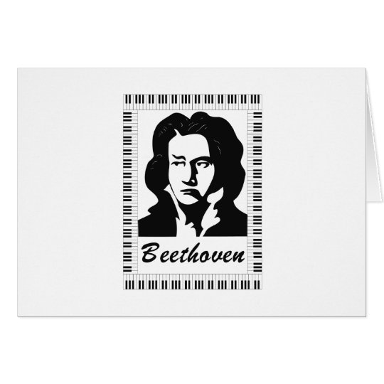beethoven portrait with piano key frame card