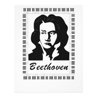 beethoven portrait with piano key frame flyer