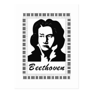 beethoven portrait with piano key frame post cards