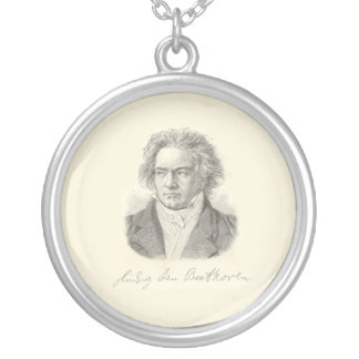 Beethoven Portrait with Signature Round Pendant Necklace
