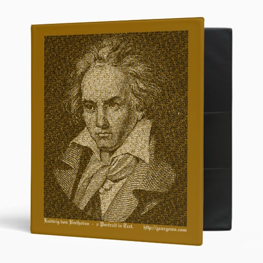 Beethoven text portrait 3 ring binder