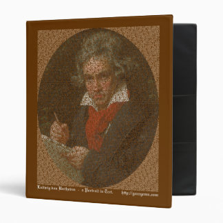 Beethoven text portrait 3 ring binders